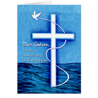 Anniversary of Baptism for Godson, Dove and Cross Greeting Card