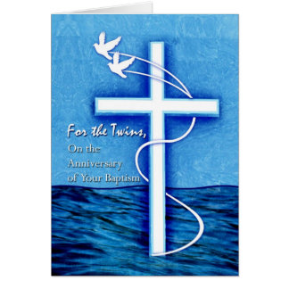 Anniversary of Baptism for Twins,  Dove & Cross Card
