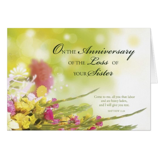 Anniversary Of Loss Of Sister, Death, Flowers Card