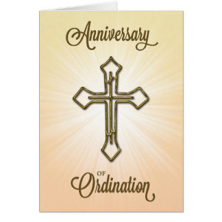 Anniversary of Ordination, Cross on Starburst Card