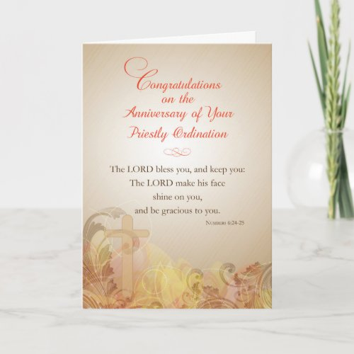 Anniversary of Priestly Ordination Blessing Card