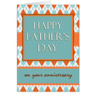 Anniversary on Father's Day, Argyle Design Card