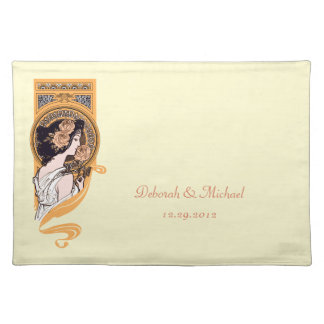 Anniversary or wedding yellow placemat