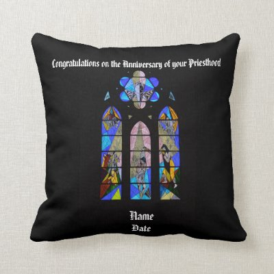 Anniversary Ordination Personalized Pastor Priest Throw Pillow