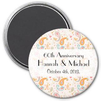 Anniversary - Paisley, Hearts, Dots - Orange Blue 3 Inch Round Magnet