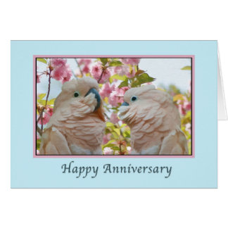 Anniversary, Parrots and Crab Apple Blossoms Card
