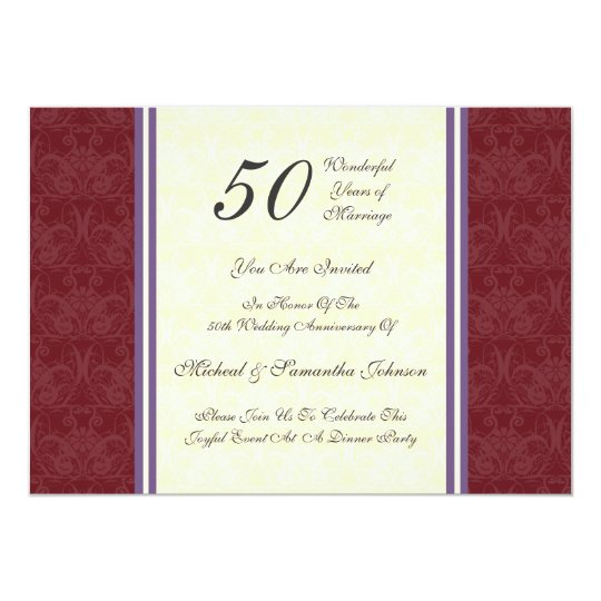 Anniversary Party 50th Burgundy Damask Invitation