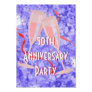 Anniversary party champagne blue invitation