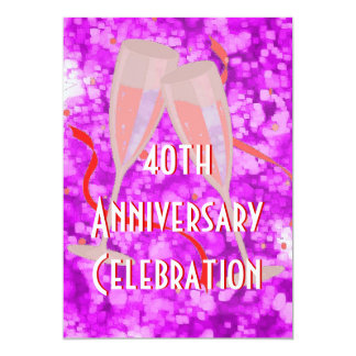 Anniversary party champagne pink invitation