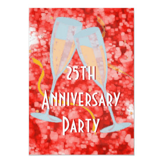 Anniversary party champagne red invitation