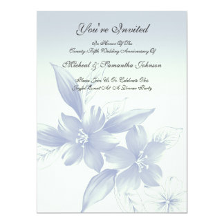 Anniversary Party Elegant Blue Floral Card