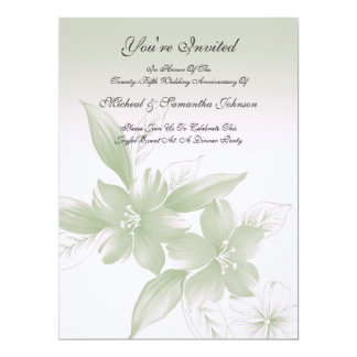 Anniversary Party Elegant Green Floral Card