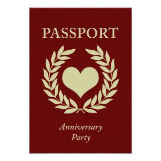 anniversary party passport personalized invites