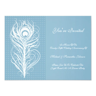 Anniversary Party Peacock Feather Blue 6.5x8.75 Paper Invitation Card