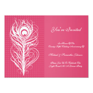 Anniversary Party Peacock Feather Fuchsia 6.5x8.75 Paper Invitation Card