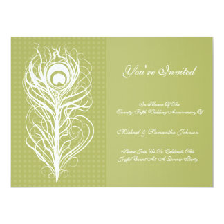 Anniversary Party Peacock Feather Green 6.5x8.75 Paper Invitation Card