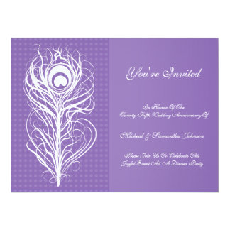 Anniversary Party Peacock Feather Purple 6.5x8.75 Paper Invitation Card