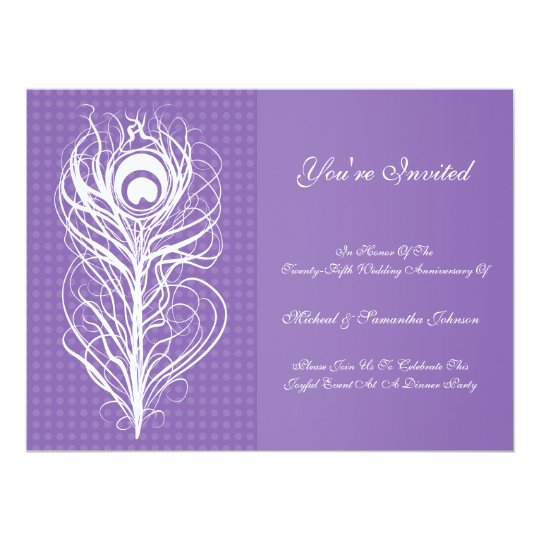 Anniversary Party Peacock Feather Purple Card