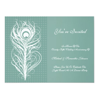 Anniversary Party Peacock Feather Teal 6.5x8.75 Paper Invitation Card