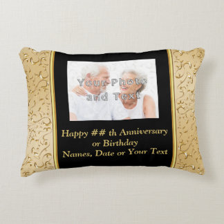 Anniversary Photo Gifts Black and Gold Pillows