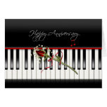 Anniversary Rose on Piano Card