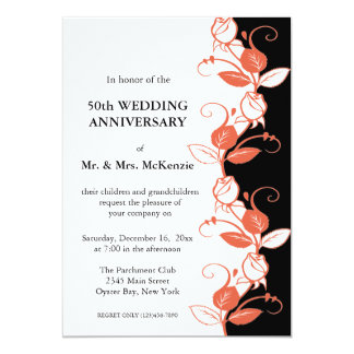 "Anniversary Roses (Coral) 5"" X 7"" Invitation Card"