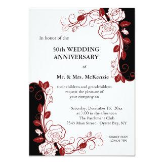 "Anniversary Roses (Maroon) 5"" X 7"" Invitation Card"