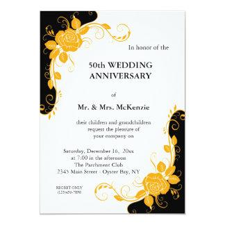 "Anniversary Roses (Orange) 5"" X 7"" Invitation Card"