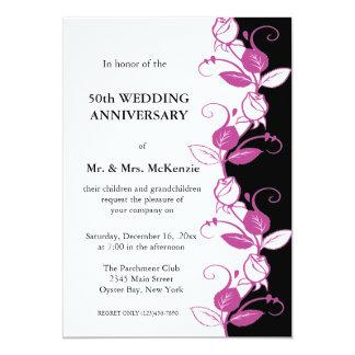"Anniversary Roses (Plum) 5"" X 7"" Invitation Card"