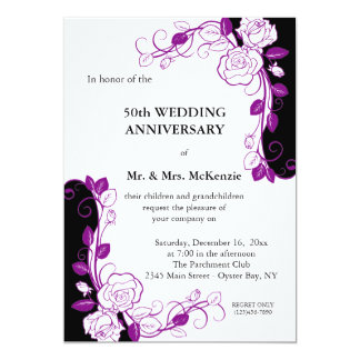 "Anniversary Roses (Purple) 5"" X 7"" Invitation Card"