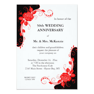 """Anniversary Roses (Red) 5"""" X 7"""" Invitation Card"""