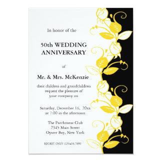 "Anniversary Roses (Yellow) 5"" X 7"" Invitation Card"