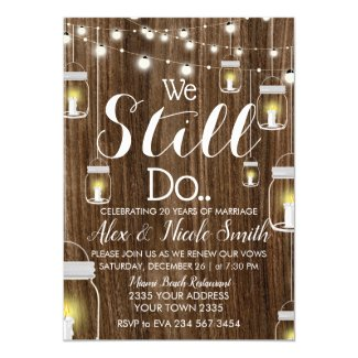 Anniversary Rustic Stringlights Candle Lamps Invitation