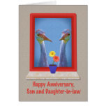 Anniversary, Son and Daughter-in-law, Cranes Greeting Card
