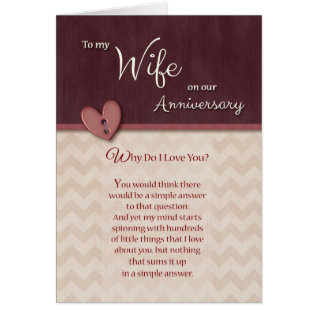 Anniversary To Wife - Why Do I Love You? Card at Zazzle