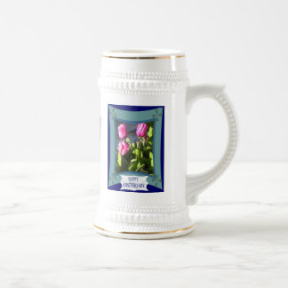 Anniversary,tulips, customize words and numbers beer stein