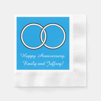 Anniversary Turquoise Blue Rings Customizable Napkin