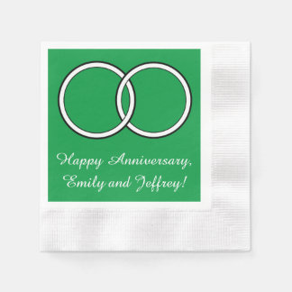 Anniversary Turquoise Blue Rings Customizable Paper Napkin