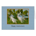 Anniversary, Two Great Egret Birds Greeting Card