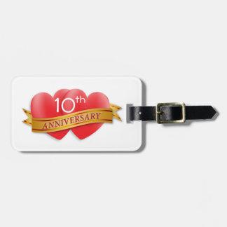 Anniversary two hearts bag tag