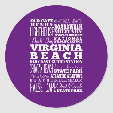 Beach Themed Anniversary Unique Virginia Beach,Virginia Gift Classic Round Sticker
