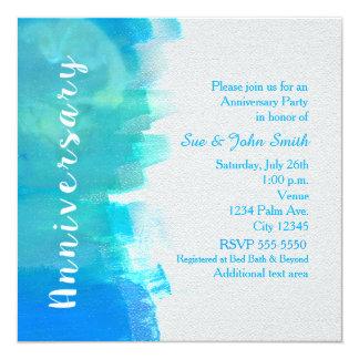 ANNIVERSARY Watercolor Tropical Blue Invitation