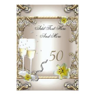Anniversary Wedding  Cream Gold Lily Silver 4.5x6.25 Paper Invitation Card