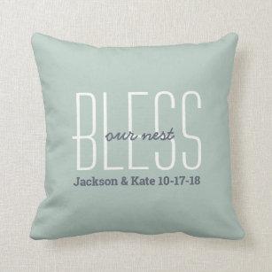 \u201cBless This Nest\u201d Pillow 15\u201d Embroidered Bless This Nest Pillow Gray Cotton Pillows