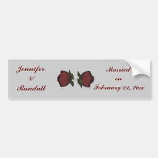 """Anniversary/Wedding Date"" - Red Rose Duo [a] Bumper Sticker"