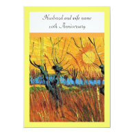 Anniversary. Willows at Sunset by van Gogh. Personalized Announcement