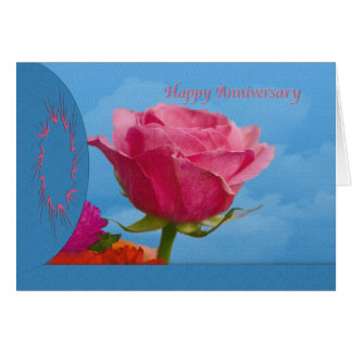 Anniversary with Single Pink  Rose Card