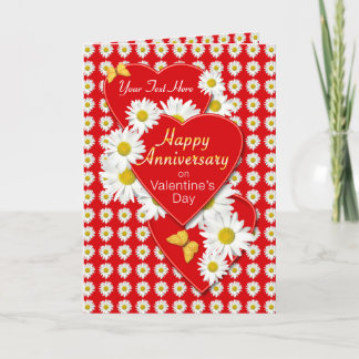 Anniversay on Valentine's Day Daisies Card
