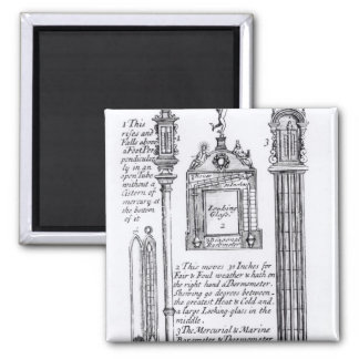 Annotated Illustration of Pendent, Diagonal 2 Inch Square Magnet