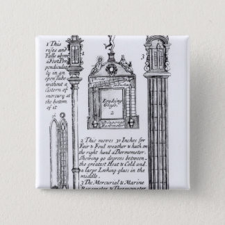 Annotated Illustration of Pendent, Diagonal Pinback Button